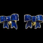 Vintage Scandinavian Gilt Sterling Silver Blue Enamel Ribbon Pierced Earrings