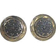 Vintage Taxco Modernist Signed MRM Sterling Silver Mayan Aztec Calendar Cufflinks Mexico
