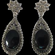 Vintage Sterling Silver Marcasites & Black Onyx Drop Pierced Ear Earrings