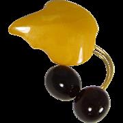 Beautiful Lithuanian Egg Yolk & Cherry Baltic Amber Brooch Pin