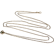 "Spectacular 58"" Antique 8K Gold Hand Muff Chain w/ Opal Slide"