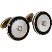 Gorgeous Art Deco 14k Yellow Gold Sapphires Mother of Pearl Cufflinks