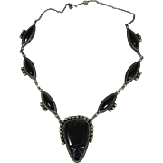 Vintage Mexican Sterling Silver & Black Onyx Necklace