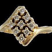 Vintage 14k Yellow Gold & 9 Diamonds Ring