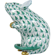 Herend Hungary Small Mouse Green Fishnet with Gold Accents - Hand Painted 15304
