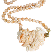 SALE PENDING Beautiful Pink Coral Bead Necklace with Carved Coral Flower Pendant