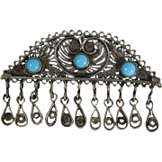 Vintage Sterling Silver & Turquoise Glass Beads Brooch Pin Palestine 1920s