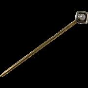 Art Deco European 14k Yellow Gold & Cultured Pearl Stick Pin