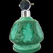 Czech Malachite Glass Perfume Bottle