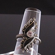 Vintege Sterling Silver Ring w/ Black and Marcasite Stones
