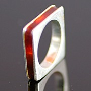 SALE Sterling Silver Modern Design Square Ring