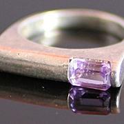 Modernist Sterling Silver Ring w/ Lavender Stone