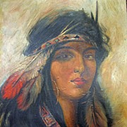 SOLD Oil Painting of American Indian Woman 1911 Pohlman