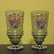 SALE Fantastic Pair of Two Antique Glass Cups / Beaker Hand Painted