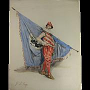 Watercolor of a Military Man Bearing a Flag XIX-XX c.