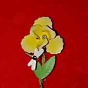 Vintage Austrian Trembler Pin - Enamel Flower and Dragonfly