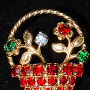 Vintage Rhinestone Basket of Flowers Brooch