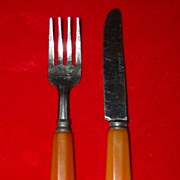 Vintage Child's Bakelite Handled Knife and Fork Set