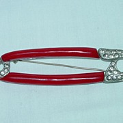 Great Vintage Red Bakelite Decorated Safety Pin