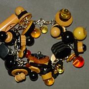 Vintage Bakelite Button Charm Bracelet - Made Recently