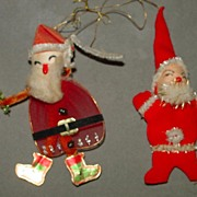 Two Vintage Santa Decorations - Spun Cotton Heads