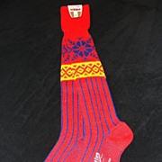 Vintage Red Wool Sporting Socks Made in Norway