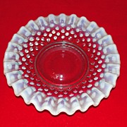Fenton Art Glass Small Blue Opalescent Hobnail Dish