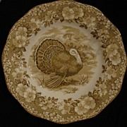 Wedgwood Brown Turkey with Floral Rim Dinner Plate