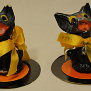 Pair of Papier Mache Halloween Black Cats