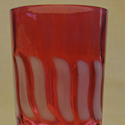 Fenton Stars and Stripes Cranberry Opalescent Glass Tumbler