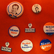 Eight Richard Nixon Political Pins and Pinbacks