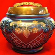 Fenton Handpainted Favrene Covered Glass Bowl or Jar
