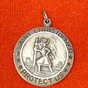 Sterling Silver St Christopher Medal Locket Pendant Slides Open