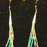 Sterling Silver and Turquoise Long Dangline Earrings