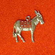 Donkey Democrat Vintage Gold Wash over Silver  Charm