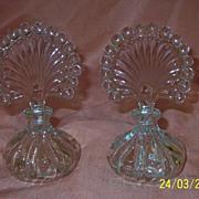 Pair of Fan Topped Perfume Bottles - b57