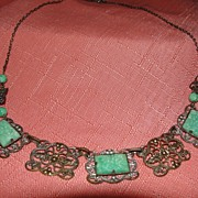 SALE Jade-Like Green Stone Necklace - Free Shipping