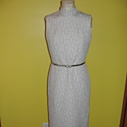 REDUCED 70's Slinky White and Silver Lurex Dress