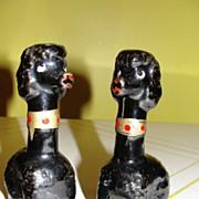 Long Necked Black Poodles Salt & pepper Shakers