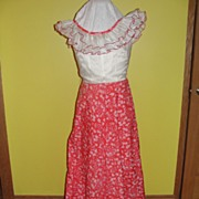 SALE Double Ruffle Red and White Floor Length Dress