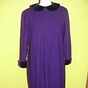 SALE Deep Purple Wool Dress with Velvet Collar and Cuffs
