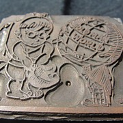 SALE Copper Printing Block #14 Old Man World - Free shipping