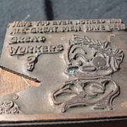 SALE Copper Printing Block #16 Buster the Great worker - Free shipping