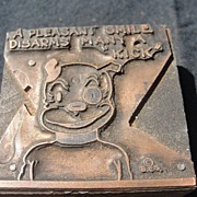 SALE Copper Printing Block #31 Buster's Disarming Smile - Free shipping