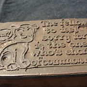 SALE Copper Printing Block #32 Buster and Common Sense - Free shipping