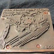 SALE Copper Printing Block #37 - Buster has Will Power - Free shipping