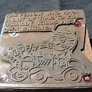 SALE Copper Printing Block #40 - Hold that Tiger Kills the Engine - Free shipping