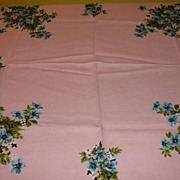 Blue Flowers on Pink Tablecloth - b22