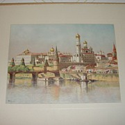 SALE Lithograph The Kremlin by J. D. Woodward