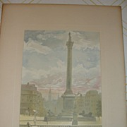 SALE Lithograph Nelson monument Trafalgar Square from painting by Becker
